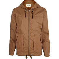 River Island MensLight brown casual hooded bomber jacket