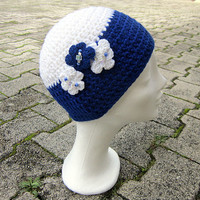 Hat with flowers, kids beanie crochet,white girls beanie,women hat crochet,white winter beanie,blue women beanie,chunky hat, white kids hat