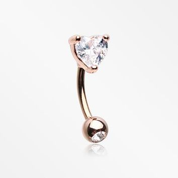 Rose Gold Heart Gem Sparkle Prong Curved Barbell