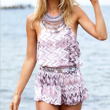 Fashion Sexy Waterwave Printed Backless Jumpsuits