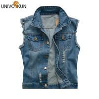 UNIVOS KUNI New Men's Jean Denim Vest Light Color Waistcoat Men Slim Fit Sleeveless Jacket  Fashion New Jeans Vests Z2311