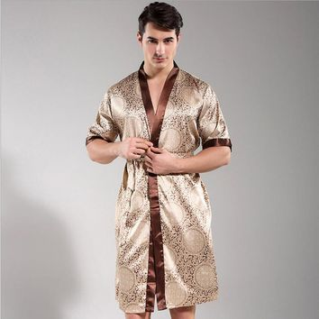 New Style Men's Print Men Sexy Robe Short Sleeve V-Neck Kimono Dragon Satin Microfiber Sleep Lounge Robes Robe