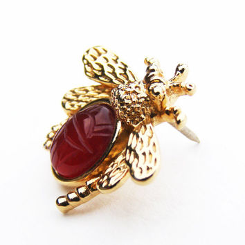 Vintage Carnelian - Egyptian Revival-esque - Gold Tone Bumblebee with Scarab Body Pin, Brooch - FREE SHIPPING