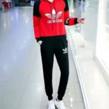 Adidas Autumn Clothes  Edgy Unisex Fashion Simple Stripe Hooded Multicolor Print Pattern Two-Piece Suit Clothes