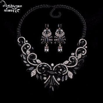 Dvacaman Brand 2018 Fashion Party Statement Jewelry Sets Women Indian Wedding Bridal Necklace&Earrings Femme Bijoux Gifts EE13