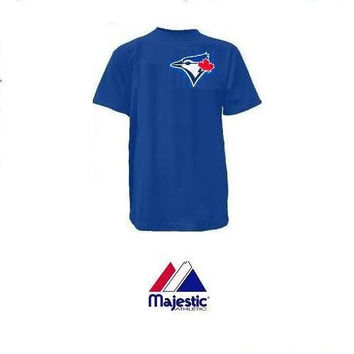 Toronto Blue Jays (YOUTH LARGE) 100% Cotton Crewneck MLB Officially Licensed Majestic Major League Baseball Replica T-Shirt Jersey