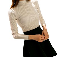 Autumn Fashion Women Elegant Sweater High Elastic Solid Sweater Slim Turtleneck Sexy Tight Bottoming Knitted Pullovers