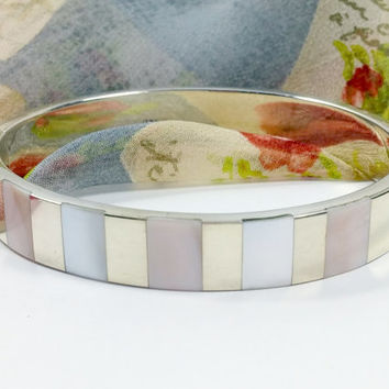 Vintage Mother of Pearl Inlay Sterling Silver Hinged Bangle Bracelet Fits Up To 7 Inch Wrist Secure Clasp Casually Elegant Fashionably Fun