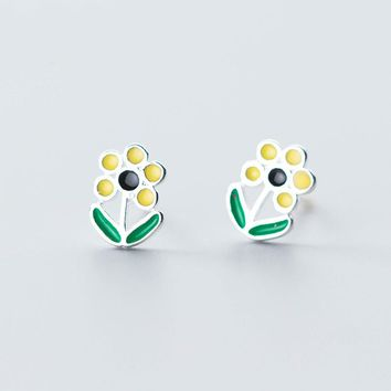 MloveAcc New Collection 925 Sterling Silver Elegant Sunflower Statement Stud Earrings for Women Girls Nice Holiday Jewelry