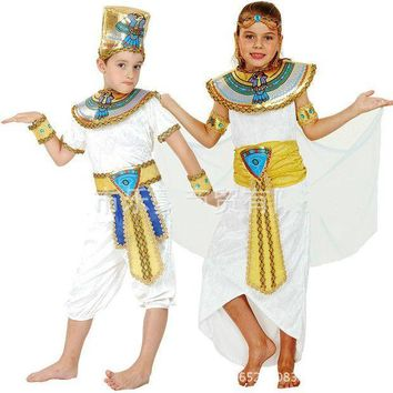 CREY6F Children Kids Halloween Costumes Boy Girl Ancient Egypt Egyptian Pharaoh Cleopatra Prince Princess Costume Cosplay fashion new