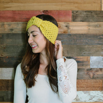 Bow headband, turban headband, earwarmer, ear warmer, mustard, fall, autumn, winter, yellow, head wrap