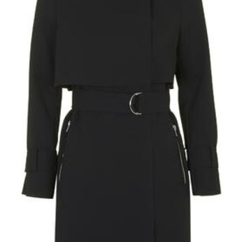 Raw Edge Trench Coat - Black