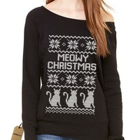 Meowy Christmas Ugly Christmas Sweater Slouchy Off Shoulder Oversized Sweatshirt