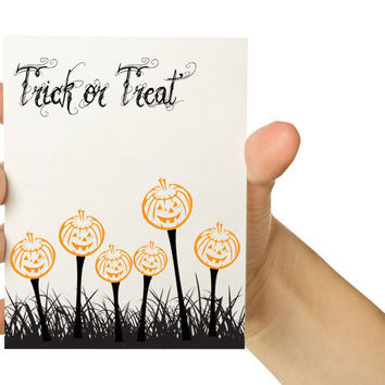 Halloween Greeting Card Trick or Treat 5 x 7 by TheWallaroo