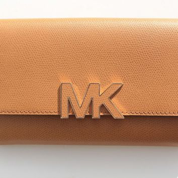 NEW MICHAEL KORS FLORENCE LARGE BILLFOLD LEATHER WALLET CLUTCH 38S7XREF7L ACORN
