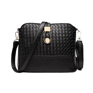 Classic Womens Black Basket Weave Leather and Gold Purse, Shoulder Bag