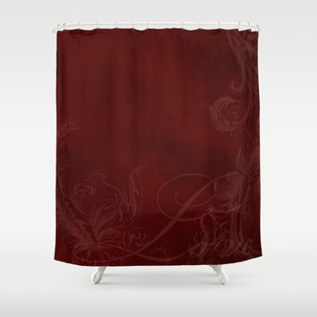 "Shower Curtain - 'Red Love' - 71"" by 74"" Home, Decor, Bathroom, Bath, Dorm, Girl, Decor, Hippie, Boho, Bohemian, Red, Love"