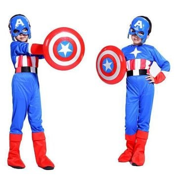 ESBUNT Free shipping Halloween costume cosplay Captain America shield children suit boy show costumes Masquerade Costume