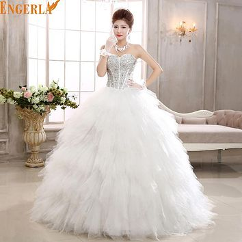 Free Shipping 2016 Fashion Wedding Dress Sexy High Quality Feather Princess Wedding Gown Lace Up Luxury Dress Ball Gown Hs581