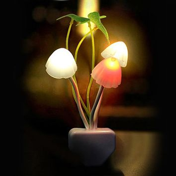 Colorful LED Mushroom Fungus Night Light Lamp