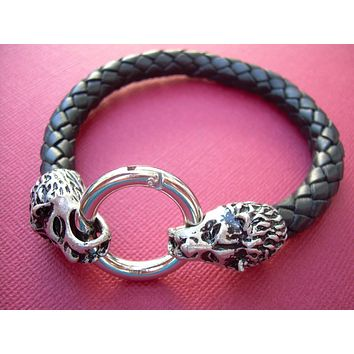 Mens Braided Leather Bracelet,  Black  Braid,  With Lions Head Toggle Clasp, Mens Bracelet, Mens Jewelry, Mens Gift