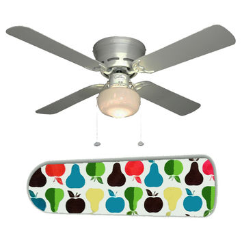 """Mid Century Modern Apples and Pears 42"""" Ceiling Fan and Lamp"""