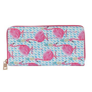 Pink Flamingo Print Vinyl Clutch Wallet Bag Accessory