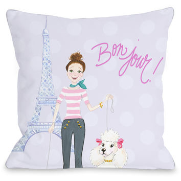 """Bonjour Eiffel Tower"" Indoor Throw Pillow by April Heather Art, 16""x16"""