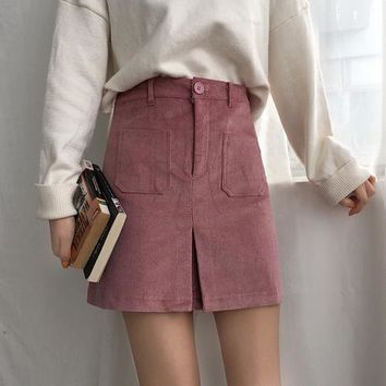 2018 korea spring women High waist vintage skirt temperament simple corduroy skirt wild thin A word skirt Ladies micro Skirts .