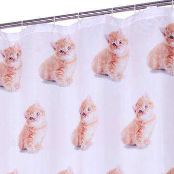"""Shower Cat is Watching You"" Shower Curtain"