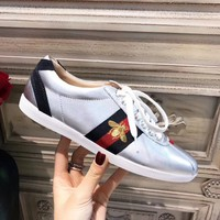 2018 Spring New Gucci Designer Fashion Women Men Lace-Up Flat Shoes Top Quality Genuine Leather Lovers Casual Shoes Luxury Sport Sneakers