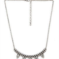 FOREVER 21 Rhinestone Crescent Bib Necklace Burn.S/Clear One