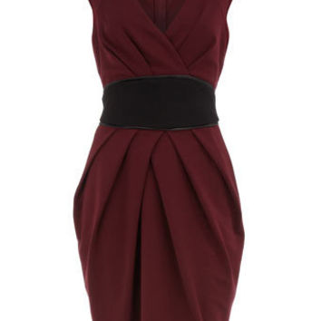 Maroon obi style ponte dress - Clothing - Dorothy Perkins