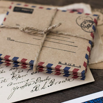 Airmail Envelopes, Stationery, Paper Goods, Rustic, Office Supplies, Kraft, Wedding Envelopes, Invitations, Announcements, Kraft Envelopes
