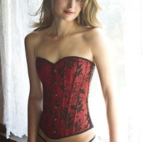 Red and Black Floral bone Corset tops