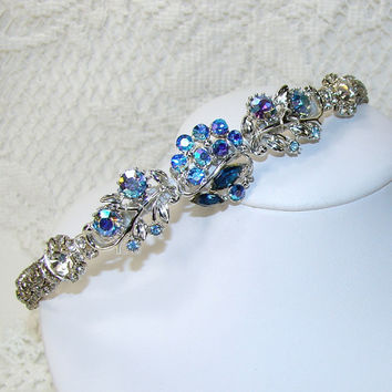 Blue Jeweled Headband Rhinestone Hairpiece Bohemian Hair Accessories Vintage Jewelry Wedding Headpiece Prom Accessory Dazzling AB Coro WEISS