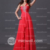 2013 Style A-line One Shoulder Beading  Sleeveless Floor-length Chiffon Prom Dresses / Evening Dresses (SZ0303922) - MicWell.com