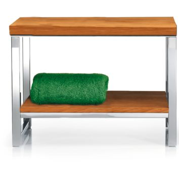 DWBA Backless Vanity Wood Bench, With Chrome Metal Legs and Storage Rack Shelf