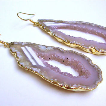 Gold plated agate slice earrings - agate jewelry -  gemstone earrings - 14k gold filled frech wires