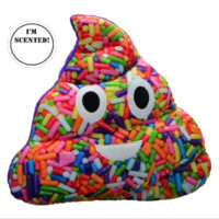 "Poop Emojicon 15"" Plush Pillow-Sprinkle Print & Vanilla Scented"