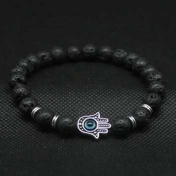 Silver and Gold Plated Hamsa Hand Bracelet of Mala Black Lava Stone & Evil Eye