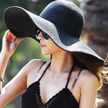 2015 Fashion Summer Women's Ladies' Foldable Wide Large Brim Floppy Beach Hat Sun Straw Hat Cap Women = 1958058628