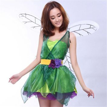 Sexy green elf Dress wings belt Flower Fairy cosplay Costumes fairy Forest sexy  clothing 2018 new Halloween costumeKawaii Pokemon go  AT_89_9