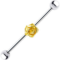 Surgical Steel Sterling Yellow Rose Industrial Barbell Earring | Body Candy Body Jewelry