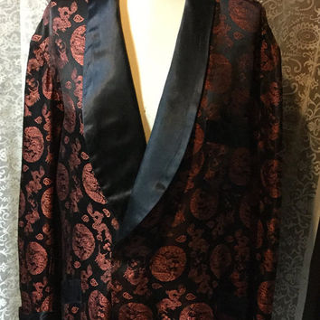"Very Handsome Brocade Men's Smoking Jacket by The Texas Tailor Saigon Viet Nam Shawl Collar ""Make An Offer!"""