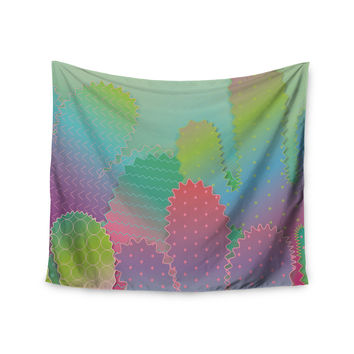 "Graphic Tabby ""Colorful Cacti Garden"" Pastel Nature Wall Tapestry"
