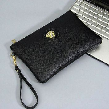 CREYV9O Versace Fashion Men Envelope Clutch Bag Leather File Bag Tote Handbag G