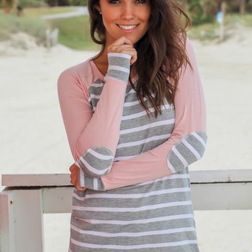 Pink Striped Top with Elbow Patches