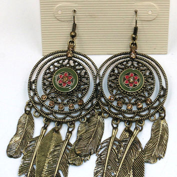 Bronze Leaf-dangling Earrings