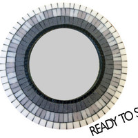 Mosaic Wall Mirror, Black Gray White Ombre, Decorative Mirror, Round Wall Art, Glass Mosaic